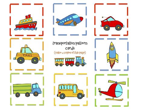 pattern matching cards transportation memory game cards car truck birthday