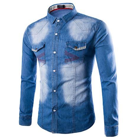 Sleeve Washed Denim Shirt autumn fashion sleeve slim fit washed denim