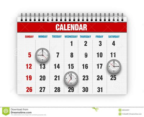 Faced Calendar by Clock And Calendar Composite Royalty Free Stock