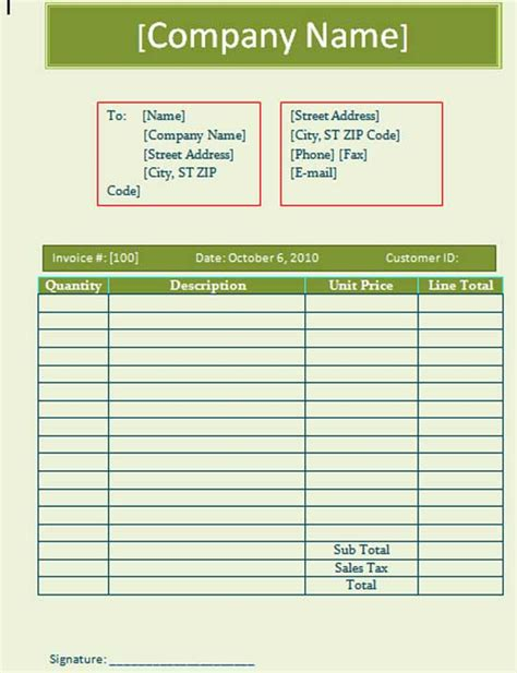 blank invoice template microsoft word templates