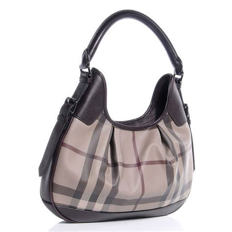 Burberry Trench Hobo Bag by Burberry Smoked Check Hobo Trench Plum 59508