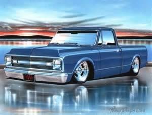 1969 70 chevy c10 fleetside classic truck print