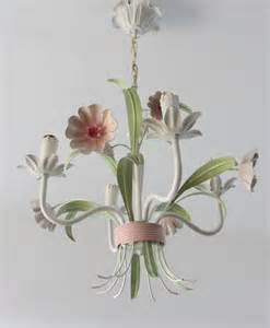 white flower chandelier vintage tole floral ceiling light pink white and