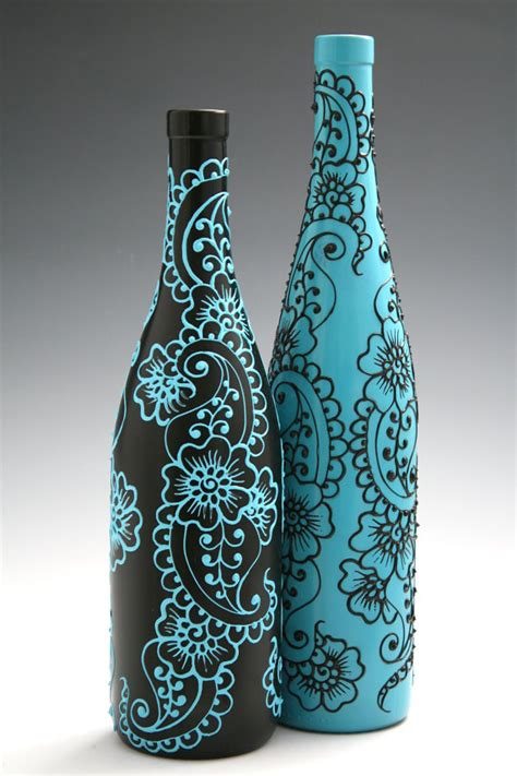 set 2 hand painted wine bottle vases turquoise by