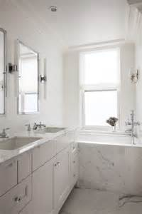 white shaker bathroom cabinets marble bathtub ideas transitional bathroom vella