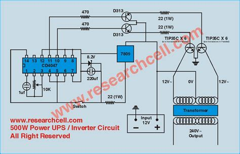 gt circuits gt 500w 12v to 230v inverter circuit diagram