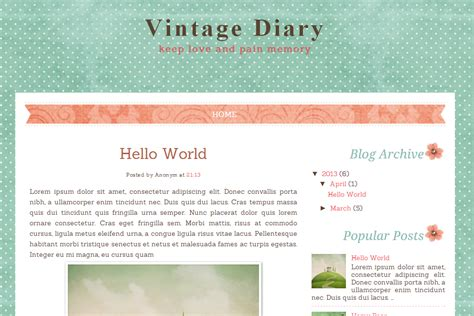 Vintage Templates For Blogger Free | vintage diary free blog template ipietoon cute blog design