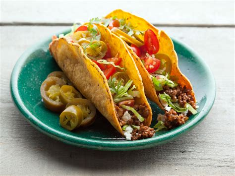 all food all american beef taco recipe alton brown food network