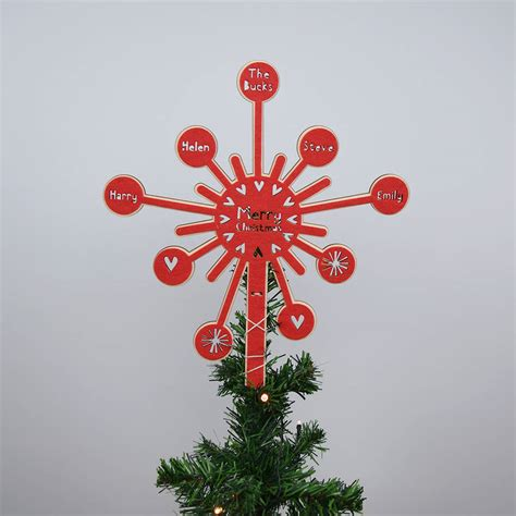 personalised starburst christmas tree topper by house of