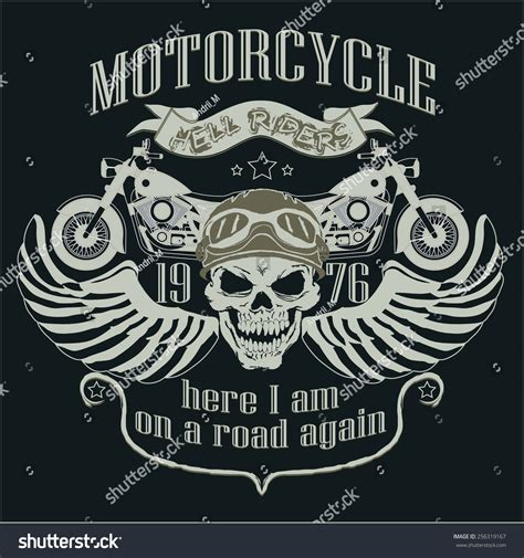 T Shirt 00928 Fly Rider motorcycle design template logo motorcycle skull stock