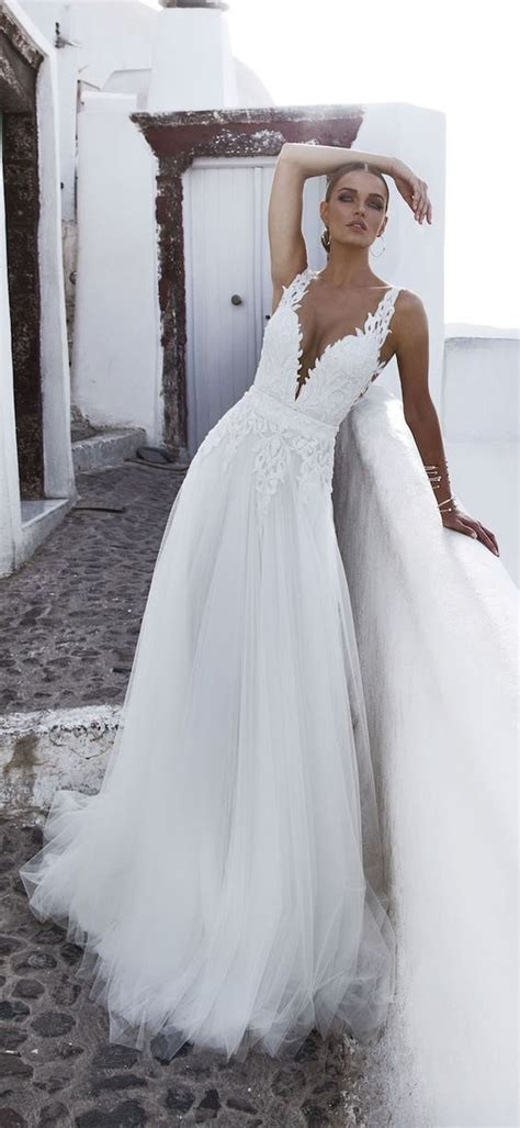 sexy deep plunging  neck wedding dresses wedding