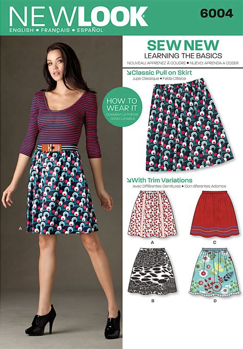 pattern review uk new look 6004 misses learn to sew skirts
