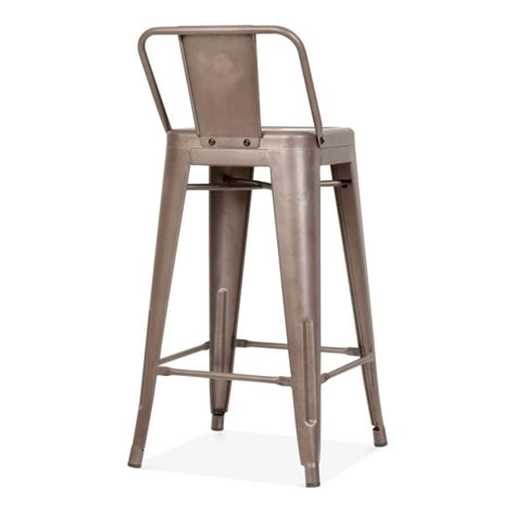 tolix metal bar stools tolix style metal bar stool with low back rest rustic 65cm
