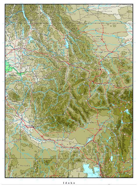 map of usa idaho large printable elevation map of idaho state idaho state