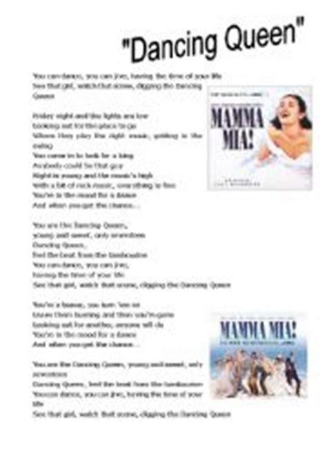 printable lyrics dancing queen abba english teaching worksheets queen