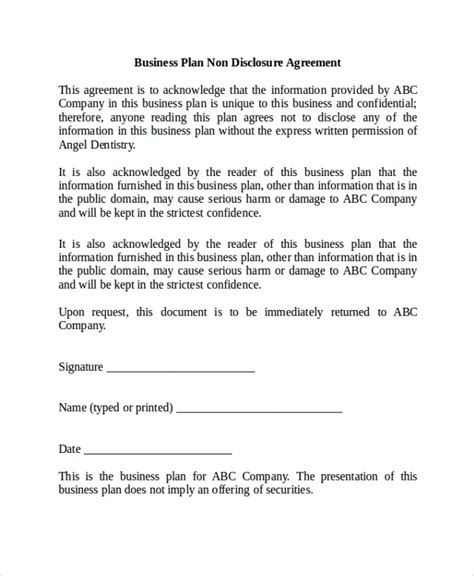 sample  disclosure agreement  documents   word