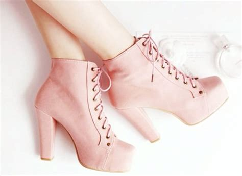 Wedges Pastel Series shoes platform lace up boots pink high heels