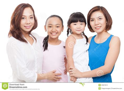 mom s two moms two daughters stock images image 26601814