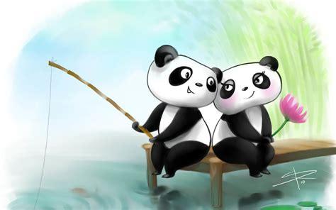 wallpaper animasi love couple animated fishing pandas couple romantic hd photo wallpaper