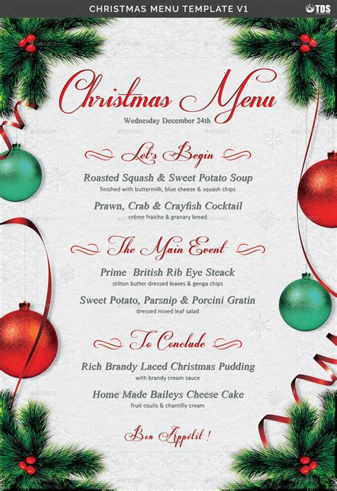 christmas menu template v1 by lou606 graphicriver