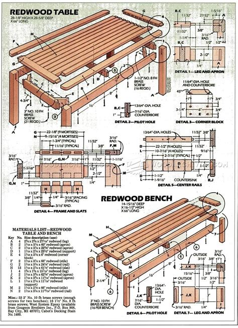 outdoor table  bench plans woodarchivist