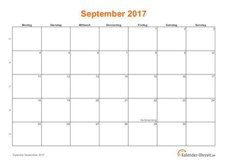 Calendar 2017 August September October September 2017 Kalender Mit Feiertagen