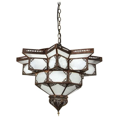 Moroccan Style Chandelier Moroccan Shape Frosted Glass Chandelier At 1stdibs