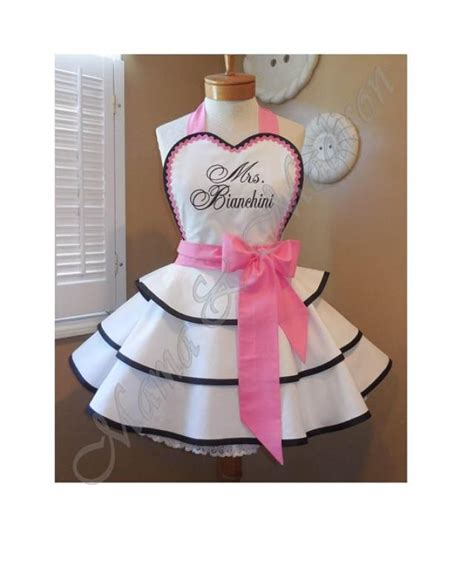 custom embroidered bridal apron accented in sweet pink