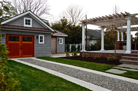 backyard sted concrete ideas gravel driveway cost garage and shed traditional with