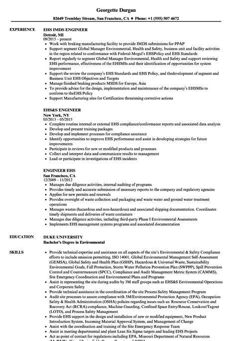 ehs resume exles ehs resume images exle resume ideas alingari