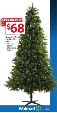 black friday artifical tree sale walmart pre lit 7 5 norwich spruce tree w color changing lights only 68 shipped