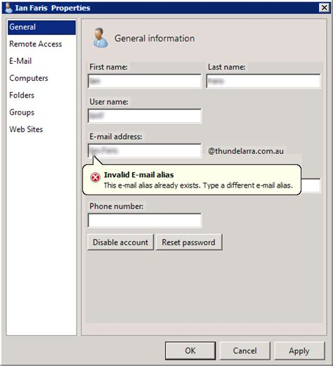 windows sbs console windows sbs console the e mail alias already exists