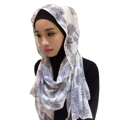 new muslim chiffon printed islamic scarf arab cap