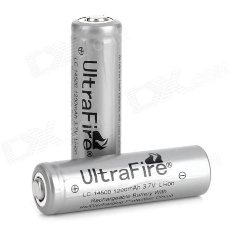 Battery Li Ion 14500 1200 Mah ultrafire rechargeable 14500 1200mah 3 7v li ion battery for flashlight silver 2 pcs free