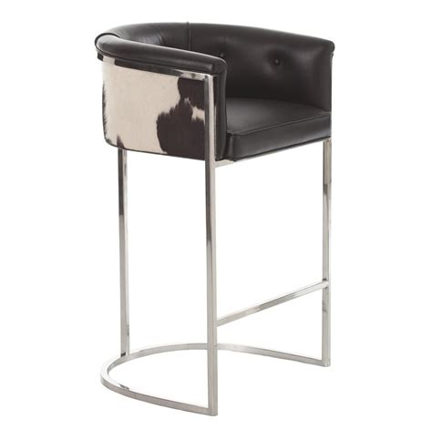 modern deco bar stool calvin top grain black hide leather deco barstool
