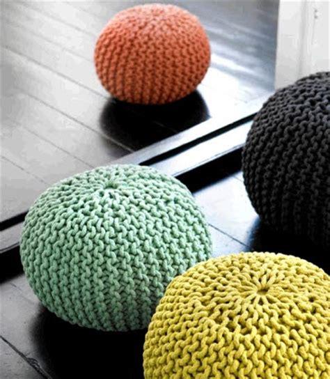 knitting a pouf and lovely the knit pouf craze