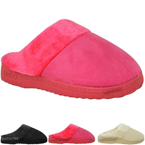 slippers for womens with soles new womens fur lined faux suede rubber sole