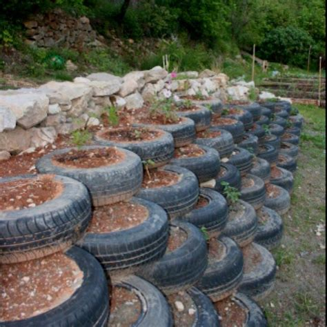 Tire Garden Ideas Landscaping Ideas With Tires Tires Steps For The Sloped Part Of My Back Yard