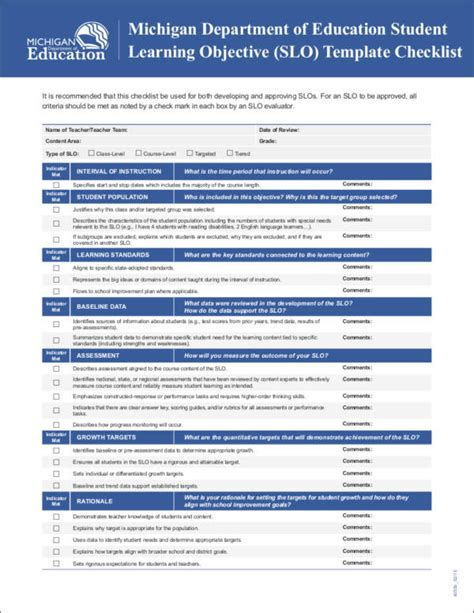 student learning objective template 19 student checklist sles templates free word pdf