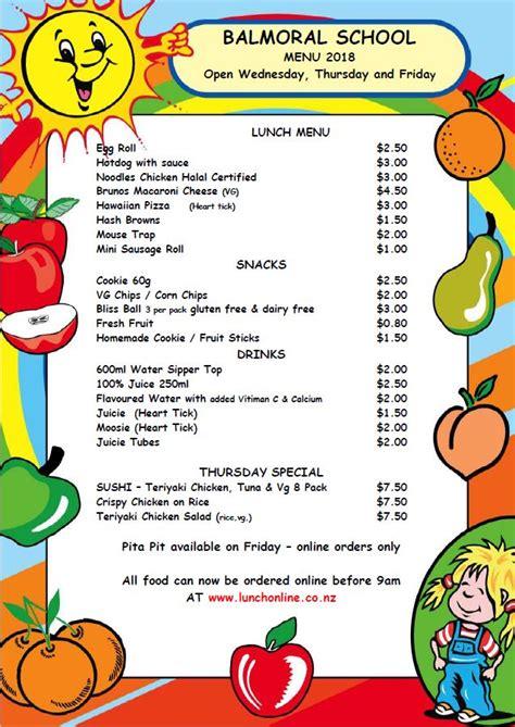 lunch orders balmoral school