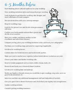 wedding checklist 4 5 months the mba bride