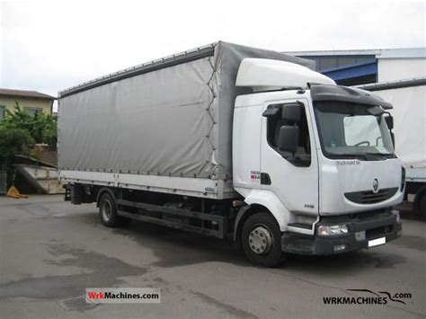 renault midlum 240 12 2007 stake and tarpaulin truck