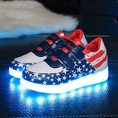 New 26 30 Kid Shoes Led Sparkly Sepatu Flat Anak Sepatu Led aliexpress buy 7 colors sneakers luminous fashion usb rechargeable light led shoes for