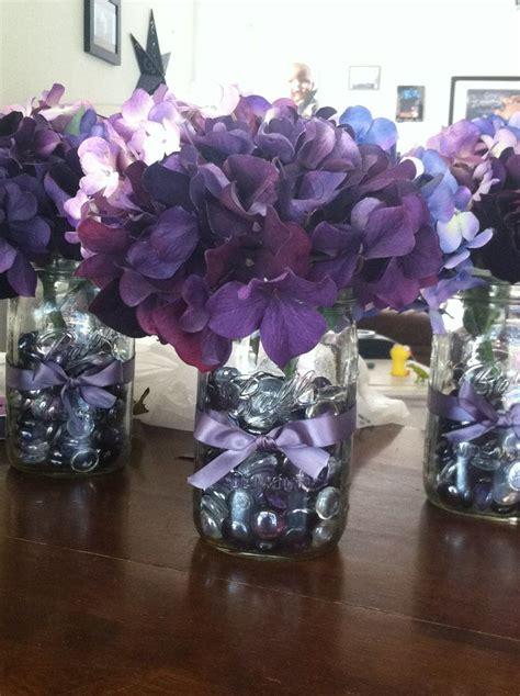 purple wedding centerpieces on pinterest inexpensive diy purple wedding decor masonjar hydrangea ribbon