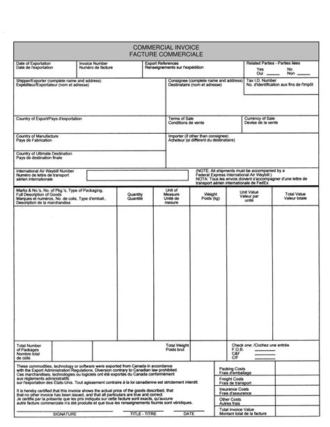 commercial invoice non commercial invoice invoice template ideas