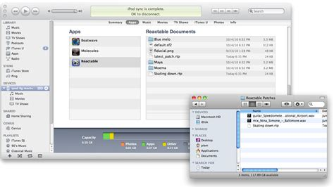 itunes file sharing section reactable mobile manual