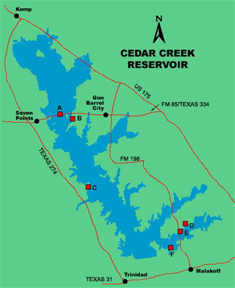 Log Cabin Cedar Creek Lake clickable map of lake