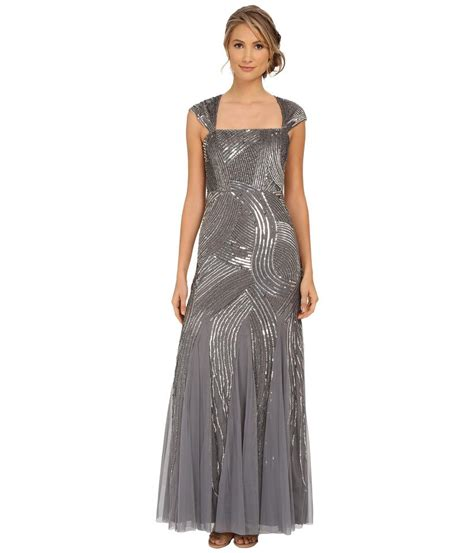 metallic beaded dress papell sterling silver cap sleeve embellished