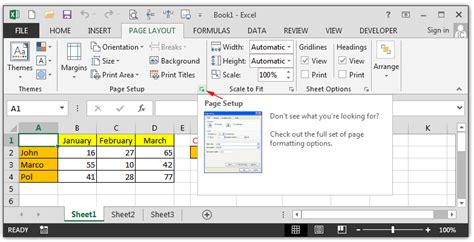 page layout in excel self education learn free excel 2013 for beginners page