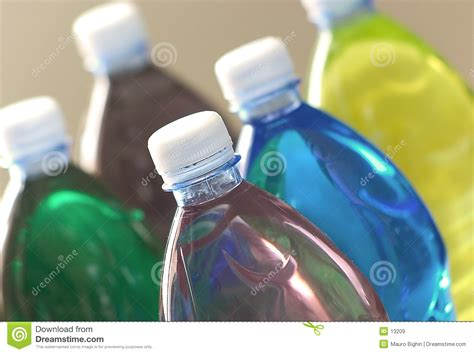 colored drinks plastic bottles royalty free stock images